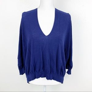 Sparrow Blue Dolman Sleeve Knit V Neck Sweater